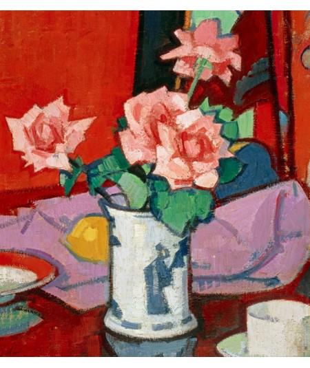 Reprodukcja obrazu Różowe róże w chińskim wazonie