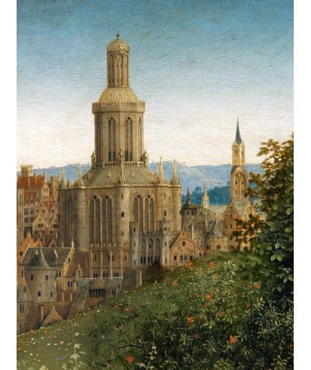 Reprodukcja obrazu Fragment kościoła w tle
