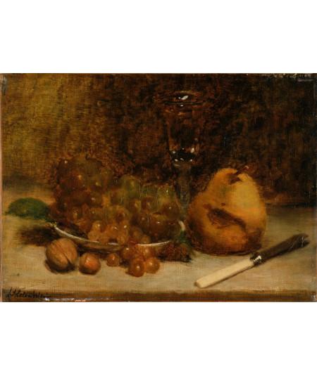 Reprodukcja obrazu Winogrona, nóż i szkło