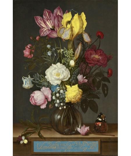 reprodukcja obrazu  Bukiet kwiatów w szklanym wazonie