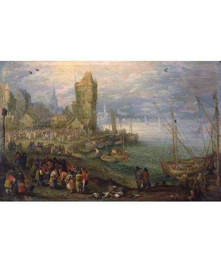 reprodukcja obrazu Targ rybny przed miastem